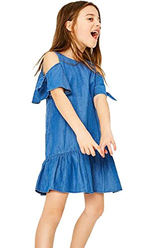 Baby Girls Off Shoulder Blue Denim Dress Children Patchwork Princess Dress Size 6-7 Years/Tag140 (Blue)