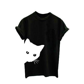 Nordira - Camiseta de Manga Corta para Mujer, diseño de Gato, Cuello Redondo, algodón, para Hombre y Mujer, Camiseta de Verano: Amazon.es: Deportes y aire ...
