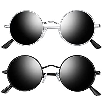 Joopin Round Retro Polaroid Sunglasses Driving Polarized Glasses Men Steampunk