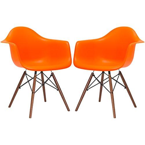Poly and Bark Vortex Arm Chair Walnut Leg, Orange, Set of 2