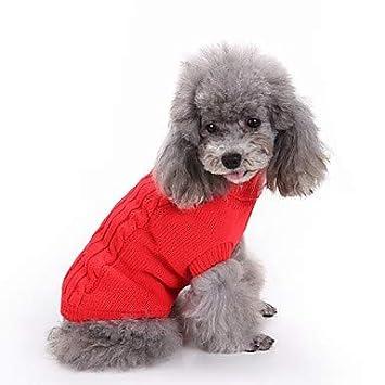 MAN Suéter del Perro del Gato Ropa del Perro Disfraz De Algodón Rojo para Mascotas El Clásico De Las Mujeres para Hombre Se Mantiene Abrigado,M: Amazon.es: ...