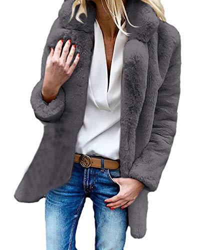 Espesar Anchos Solapa Sintética Elegantes Ropa Abrigo Manga Chaqueta Piel Colores De Outerwear Invierno Caliente Sólidos Otoño Larga Gris Mujer Fashion gWw0PXq