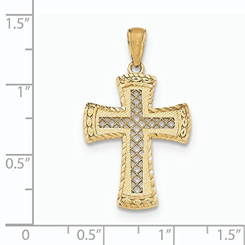 Poli 14carats Pendentif-Croix avec pointes en satin Edge-Treillis-16