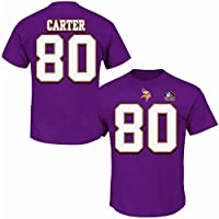 Cris Carter #80 Minnesota Vikings NFL Mens Discounted Hall Of Fame Player Shirt Purple Big & Tall Sizes