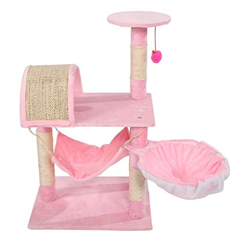 er Cat Tower Lamb Pink Large Cat Tree Condo Multi-Level Cat Climbing Tower with Hammock Bed and Scratching Post Kitten Furniture Play House Warm ()