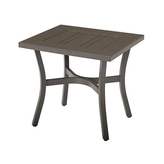Emerald Home Furnishings OT1062-01 Chatham II Outdoor end Table, Standard, Cappuccino - The Chatham II outdoor end table combines plush comfort, traditional design, and modern durability Exemplifies traditional contemporary style and comes in cappuccino, bringing both personality and function to your home The Chatham II outdoor end table features powder coated aluminum frame - patio-tables, patio-furniture, patio - 41IiAFbHmBL. SS570  -