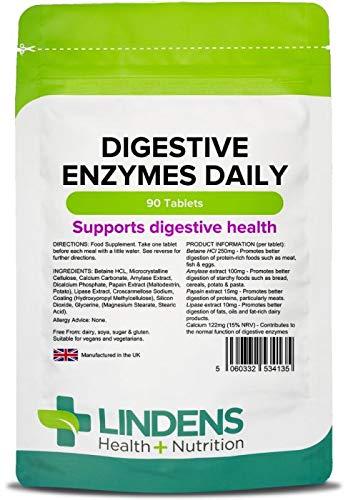 Lindens Enzimas digestivas en comprimidos diarios | 90 Paquete | Contiene betaína HCL, papaína, amilasa y lipasa para estimular una digestión mejor: ...