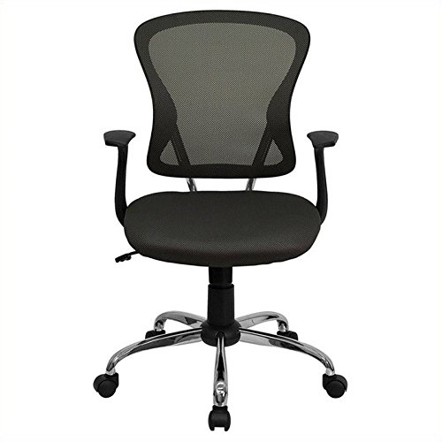 Mid-Back Dark Gray Mesh Swivel Task Chair with Chrome Base and Arms