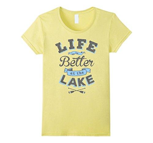 Women's Life Better Lake Shirt Boating Fishing Camping Ou...