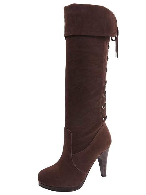 AIYOUMEI Damen Wildleder Lace Up High Heels Kniehohe Stiefel mit 10cm  Absatz Modern Winter Stiefel mit 3f01fd54b6