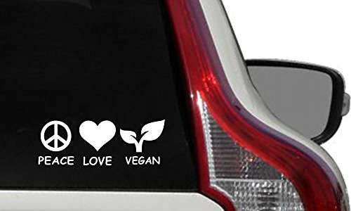 (Vegan Peace Love Text Version 1 Car Vinyl Sticker Decal Bumper Sticker for Auto Cars Trucks Windshield Custom Walls Windows Ipad Macbook Laptop Home and More (White))