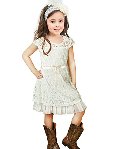 Topmaker Flower Girl Dress, Rustic Girl Dress (2T, Off-White) -