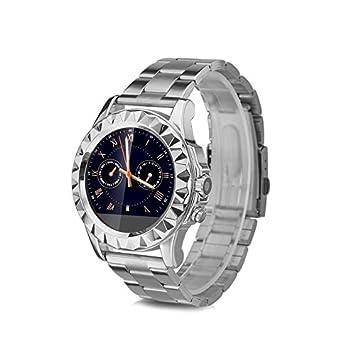 No.1 SUN S2 Smartwatch Reloj de Acero Inoxidable (Pantalla Tactil, Podometro, Monitor de Sueño y Ritmo Cardiaco, Cámara 0.3MP, Captura Remota, Para ...