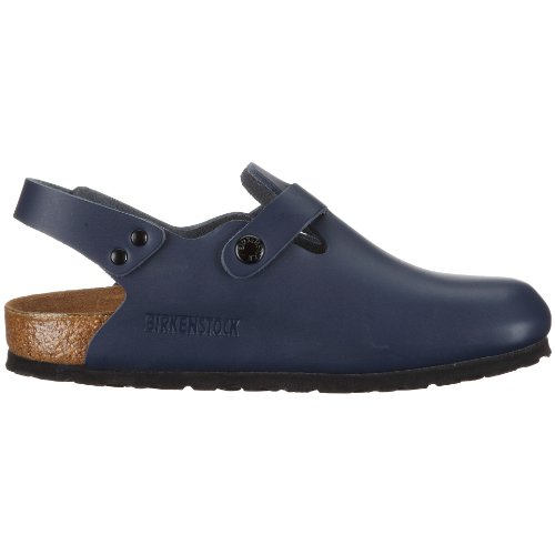 Birkenstock Takio - Zuecos de cuero suave unisex, color azul, talla 42