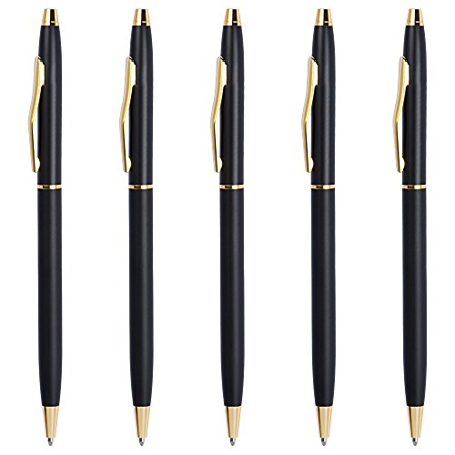 Ballpoint Pens Black, Cambond Black Ink Pen 1.0 mm Medium Point for Men Women Police Uniform Office Business Daily Writing, 5 Pack - CP0101