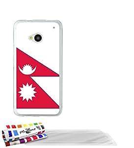 """Carcasa Flexible Ultra-Slim HTC ONE de exclusivo motivo [Bandera Nepal ] [Transparente] de MUZZANO  + 3 Pelliculas de Pantalla """"UltraClear"""" + ESTILETE y PAÑO MUZZANO REGALADOS - La Protección Antigolpes ULTIMA, ELEGANTE Y DURADERA para su HTC ONE"""