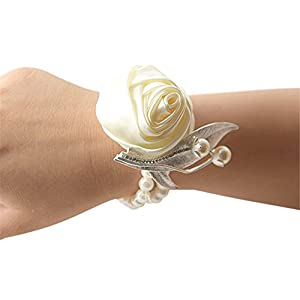 Jackcsale Fashion Wedding Bridesmaid Wrist Flower Corsage Party Hand Flower Decor with Faux Pearl Bead Wristband Ivory Pack of 4