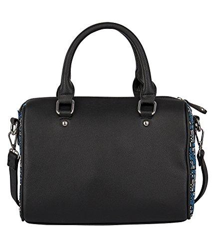 """SIX """"Basic"""" kleine feste schwarze Bowling-Tasche, Damen Handtasche mit blau weißen Ethno Akzenten, 27x22.5x10 cm, abnehmbarer Riemen (463-046)"""