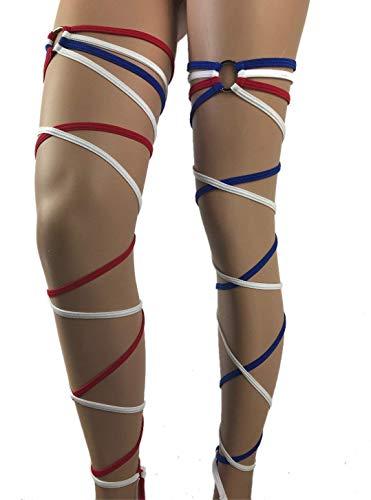 Exotic Dancewear Leg Wraps 4Th of July Rave Leg Wraps Gartinis Rave Outfits Club American Flag Rave Fashion Garter Club wear Rave Girl