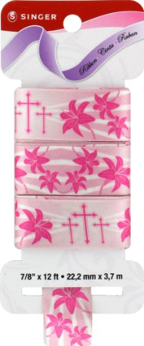 - singer Satin Ribbon, 7/8-Inch by 12-Feet, Easter Lily Print, Bubble Gum Pink