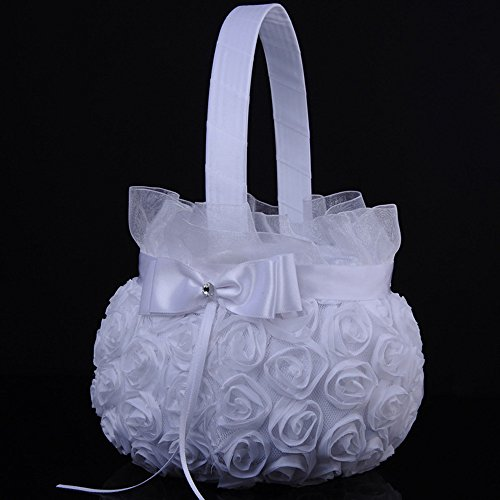 Wedding Satin Flower Basket,Wensltd Romantic Bowknot Silk Cloth Wedding Ceremony Party Rose Flower Girl Basket