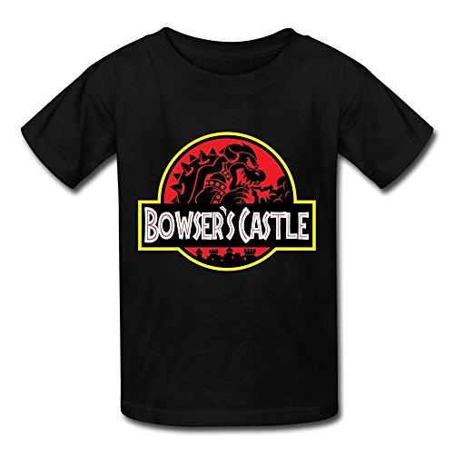 LUYI Kid's Bowser's Jurassic Castle Logo T Shirts S Black (Bowsers Kids)