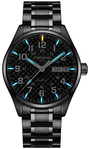 (Swiss Brand Analog Quartz Watch Tritium Gas Luminous Silver Stainless Steel Military Watch for Men (All Black Blue Light - Carbon Fiber Dial))