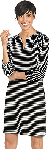 Coolibar UPF 50+ Women's Oceanside Tunic Dress - Sun Protective (X-Small- Fine Black/White Stripe)