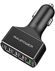 Car Charger 4-Port QC3.0 RAVPower Quick Charge 3.0 54W Car Adapter with iSmart 2.0 Tech, Compatible Fast Charge Galaxy S9 S8 S7 S6 Edge Note 8, iSmart Compatible iPhone 11 Pro Max X 8 7 Plus and More