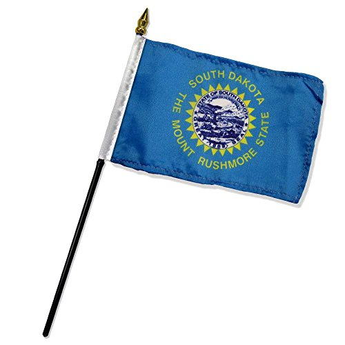 Quality Standard Flags One Dozen South Dakota Stick Flag, 4 by 6