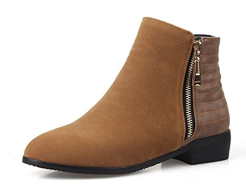 Chunky Heels Brown Side Round Toe Casual Ankle Womens Low Aisun Booties Comfy Shoes Zipper TwOtxp