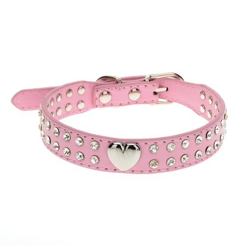 Zehui 2 Rows Rhinestone Bling Heart Studded Leather Dog Collar For Small Pet Collar Pink - America Sunglasses Shaped