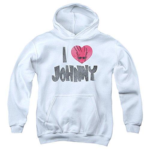 Johnny Bravo I Heart Johnny Big Boys Pullover Hoodie WHIT...