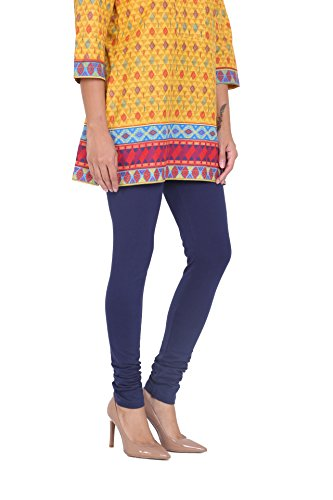 In-Sattva Women's Indian Solid Color Leggings; Indigo; Medium
