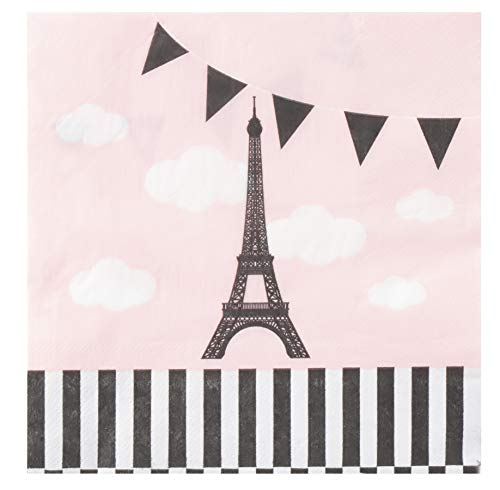(Cocktail Napkins - 150-Pack Luncheon Napkins, Disposable Paper Napkins Party Supplies for Bridal Showers, Birthdays, 2-Ply, Eiffel Tower Design, Unfolded 13 x 13 Inches, Folded 6.5 x 6.5)