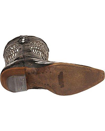 Corral Kvinna Vit Vinge Intarsia Och Kors Broderi Nödställda Cowgirl Boot - A1018 Svart
