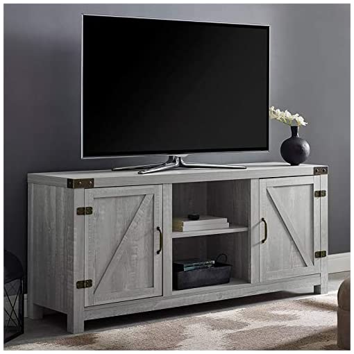 Farmhouse Living Room Furniture BOWERY HILL Rustic Farmhouse Barn Door Wood 58″ TV Stand Console Storage in Stone Grey farmhouse tv stands