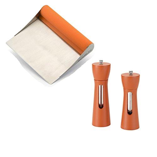 Premier Rachael Ray Scraper Shovel Spatula Set with Bonus 2 Piece Acacia Salt & Pepper Grinder (2 Piece Acacia Silicone)