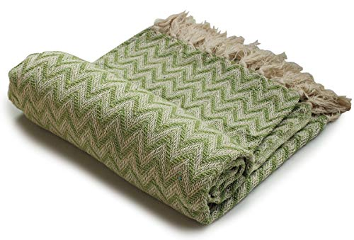 Crafkart Father's Day Deals on Throws - Green Throw Blanket - Cotton Chevron Patterned Blanket Throw with Fringe for Chair, Couch, Picnic, Camping, Beach, Everyday Use
