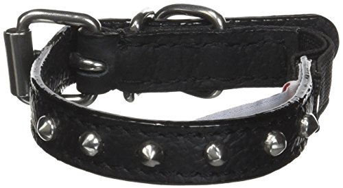 Angel Pet Supplies Leather Studded Cat/Kitten Collar with Safety Elastic Stretch, 10 by 1/2-Inch, Black