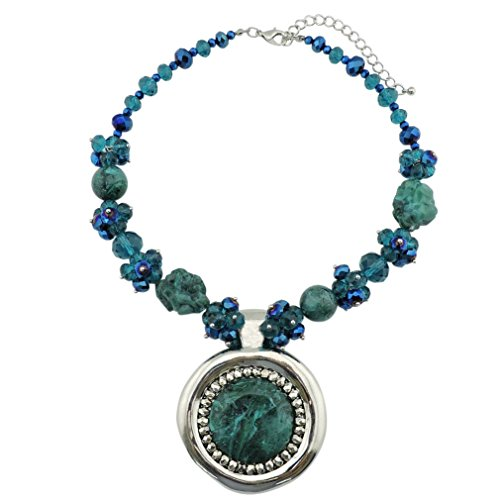Bocar Chunky Metal Alloy Big Drop Pendant Statement Choker Collar Necklace (NK-10093-teal)