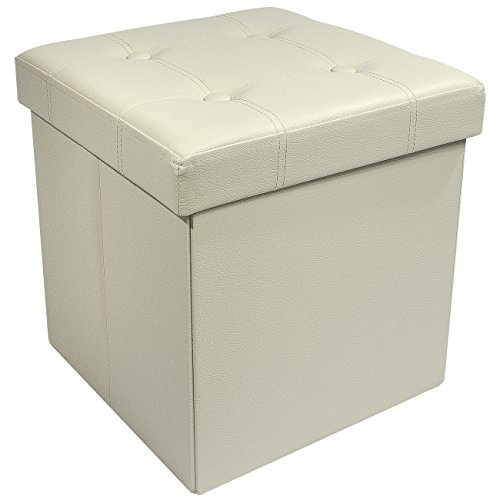 an – Collapsible/Folding Cube Ottoman with Cover–Perfect Hassock, Foot Stool, Seat, Coffee Table, Storage Chest, and more–Contemporary Faux leather (Beige) ()