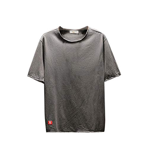 TOPUNDER Men's Summer Casual Fashion Solid Color O-Neck Short Sleeve T-Shirt Top Blouse Gray