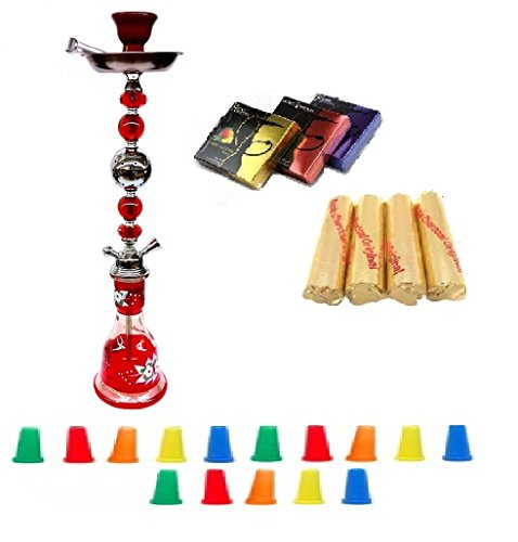 """Zebra Smoke Series: 22"""" 1 Hose Hookah (C9) Complete Set Combo KIT SET w/ Instant Charcoal (Like Three Kings Charcoal), Hydro Herbal Molasses(like Blue Mist), and Hookah Mouth Tips (Pick Your Color) (RED)"""