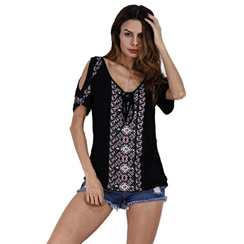 CUCUHAM Women Summer Print Short Sleeve Shirt Tops Blouse T-Shirt (S, Black)
