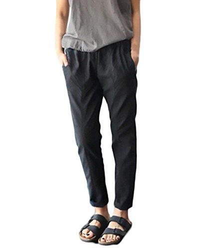 À Pantalon De Taille Bouffant Noir Battercake Doux 8 Poches Moyen Elégante Loisirs Manche 7 Dame Mode L'air Latérales Casual Femme Uni Lin Printemps Pants L'intérieur Perméable Cordon a1qSFwa8
