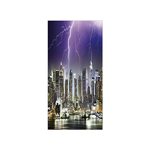 City Thunder Acrylic - Decorative Privacy Window Film/Storm and Thunder at Night in New York City Apocalyptic Dramatic View/No-Glue Self Static Cling for Home Bedroom Bathroom Kitchen Office Decor Indigo Lilac Charcoal Grey