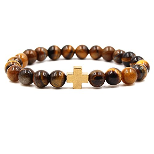 BaiYunPOY 8mm Handmade Charm Prayer Beaded Yoga Bracelet for Men Women - Natural Energy Beads Bracelet Healing Bangle - Tiger Eye Gold Cross