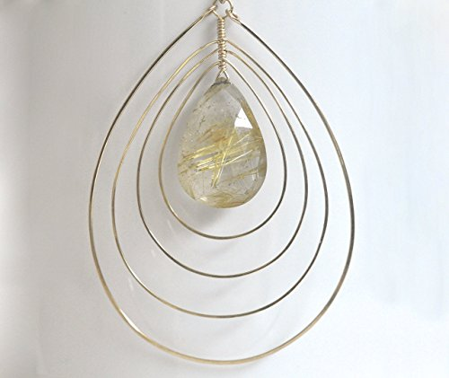 Gold Rutilated Quartz Earrings - 14k Gold Filled Gemstone Earrings - Gold Rutile Quartz