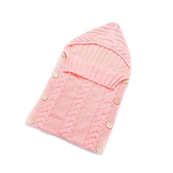 Elesa Miracle Newborn Baby Swaddle Blanket Baby Winter Knit Swaddle Blanket Baby Knit Wrap Sleeping Bag, Pink